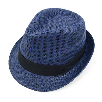 6pcs Two Sizes Spring/Summer Navy Fedora Hat with Band Trim - H10206