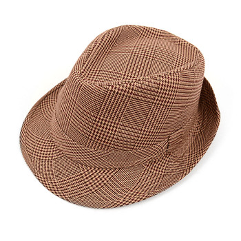 Fall/Winter Hounds Tooth Brown Trilby Fedora Hat - H10334N