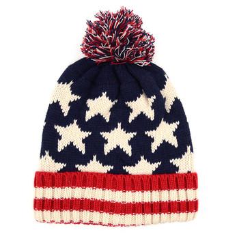 12pc Prepack Kid's American Flag Knit Pom Beanie Ski Hats - AFBHAT