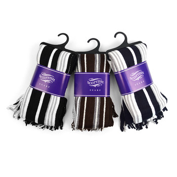 12pc Assorted Pack Scottish Acrylic Winter Scarf - AKS10409ASST