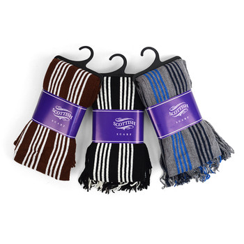 12pc Assorted Pack Scottish Acrylic Winter Scarf - AKS10410ASST