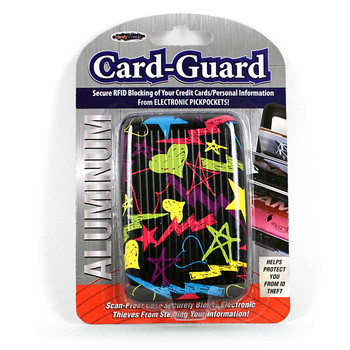 Card Guard Aluminum Compact Wallet Credit Card Holder with RFID Protection - Graffiti