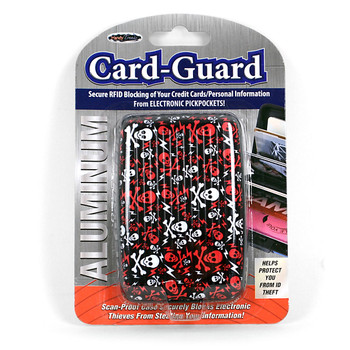 Card Guard Aluminum Compact Wallet Credit Card Holder with RFID Protection - Skull
