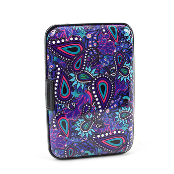 12pc Pack Card Guard Aluminum Compact Wallet Credit Card Holder with RFID Protection - Paisley