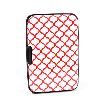 12pc Pack Card Guard Aluminum Compact Wallet Credit Card Holder with RFID Protection - Red Plaid