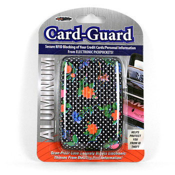 Card Guard Aluminum Compact Wallet Credit Card Holder with RFID Protection - Flower