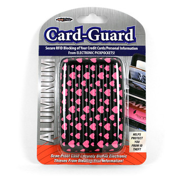 Card Guard Aluminum Compact Wallet Credit Card Holder with RFID Protection - Pink Heart