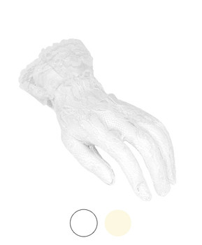 Women's Lace Ruffle Cuff Gloves LG