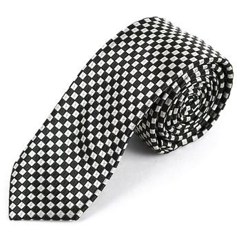 "Checkered Microfiber Poly Woven 2.25"" Slim Tie - MPWS5710"