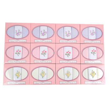 12pc Assorted Pack Women's Boxed Embroidered Cotton Handkerchiefs L12PKH