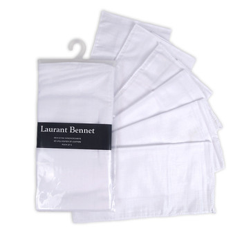 Men's Plain White Handkerchiefs 6pcs Set HTC006
