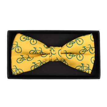 Men's Yellow Bicycle Banded Bow Tie