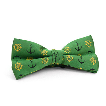 Men's Green Anchor Banded Bow Tie