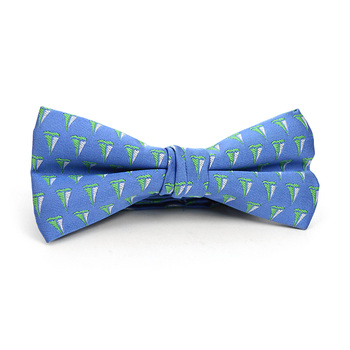 Men's Blue Sailor Boat Banded Bow Tie