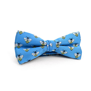 Men's Blue Bee Banded Bow Tie