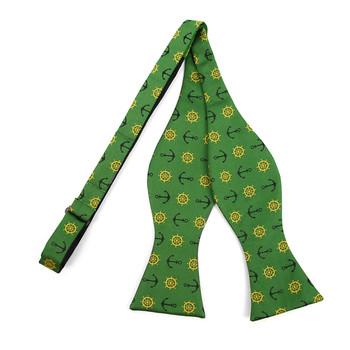 Men's Green Anchor Self-Tie Freestyle Bow Tie