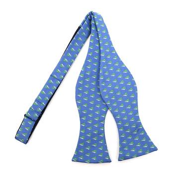 Men's Blue Sailor Boat Self-Tie Freestyle Bow Tie