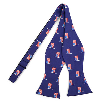 Men's Blue American Flag Self-Tie Freestyle Bow Tie