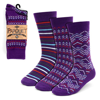 Assorted Pack (3 Pairs) Men's Purple Casual Fancy Socks 3PKS/PR