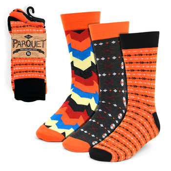 Assorted Pack (3 Pairs) Men's Orange Casual Fancy Socks 3PKS/OR