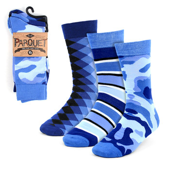 Assorted Pack (3 Pairs) Men's Blue Casual Fancy Socks 3PKS/BL