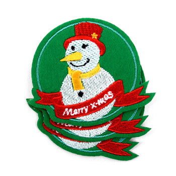 Snowman Embroidered Iron-On Christmas Winter Holiday Patch - Snowman