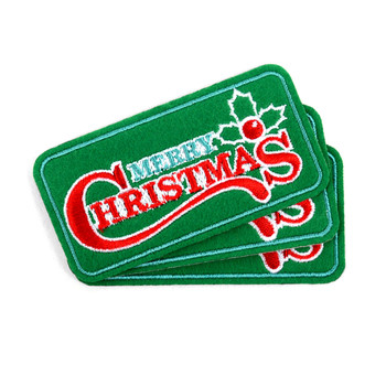 Christmas Embroidered Iron-On Winter Holiday Patch - Christmas