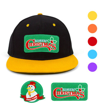 Winter Holiday Two Tone Flat Bill Embroidery Patch Snapback Cap, Hat