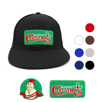 Winter Holiday Solid Flat Bill Embroidery Patch Snapback Cap, Hat