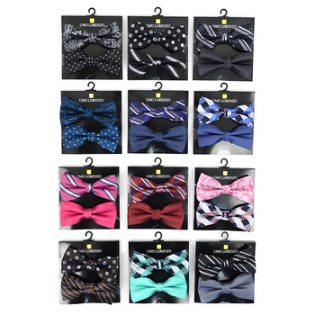 12pc Two Pack Assorted Solid & Fancy Poly Woven Banded Bow Tie Duo Sets FBB2X-FNY