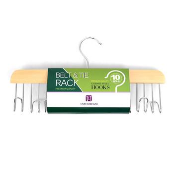 Matte Natural Wooden Belt & Tie Rack BHOOK10
