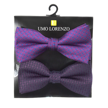 12pc Two Pack Assorted Solid & Fancy Poly Woven Banded Bow Tie Duo Sets FBB2X-PTSL