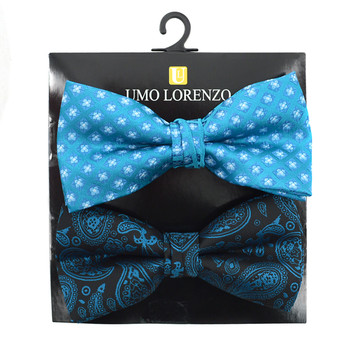 12pc Two Pack Assorted Solid & Fancy Poly Woven Banded Bow Tie Duo Sets FBB2X-CLS