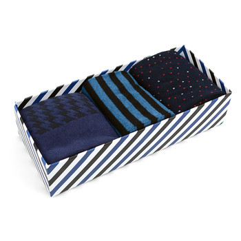 Fancy Multi Colored Socks Striped Gift Box (3 Pairs in Box) MFS1014