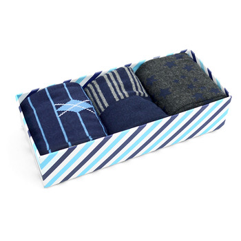 Fancy Multi Colored Socks Striped Gift Box (3 Pairs in Box) MFS1020