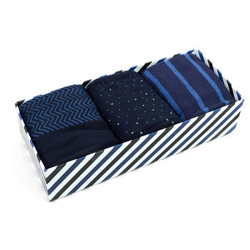 Fancy Multi Colored Socks Striped Gift Box (3 Pairs in Box) MFS1025
