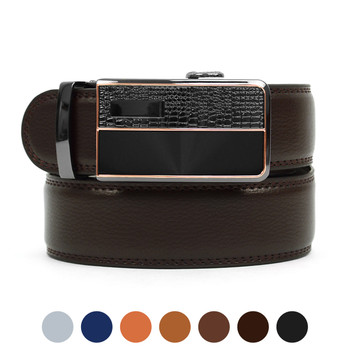 Men's Auto Lock Buckle Genuine Leather Waist Strap Dress Belt MGLBB1