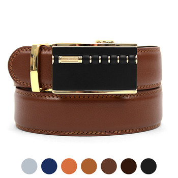 Men's Auto Lock Buckle Genuine Leather Waist Strap Dress Belt MGLBB2