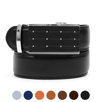 Men's Auto Lock Buckle Genuine Leather Waist Strap Dress Belt MGLBB3