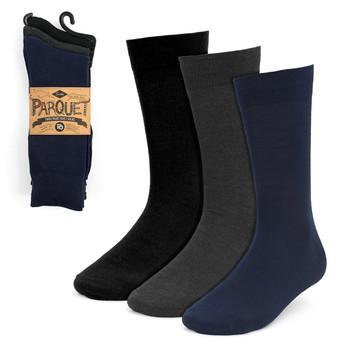 Assorted Pack (3 Pairs) Men's Solid Dressy Fancy Socks 3PKS-DRSY1