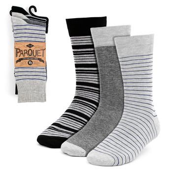 Assorted Pack (3 Pairs) Men's Gray Striped Fancy Dress Socks 3PKS-DRSY2