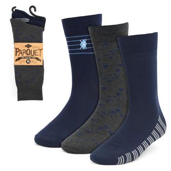 Assorted Pack (3 Pairs) Men's Navy Fancy Dress Socks 3PKS-DRSY4