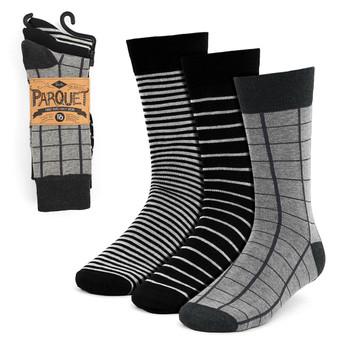Assorted Pack (3 Pairs) Men's Black Striped Fancy Dress Socks 3PKS-DRSY5
