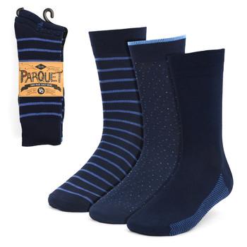 Assorted Pack (3 Pairs) Men's Navy Striped Fancy Dress Socks 3PKS-DRSY6