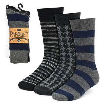 Assorted Pack (3 Pairs) Men's Gray Fancy Dress Socks 3PKS-DRSY7