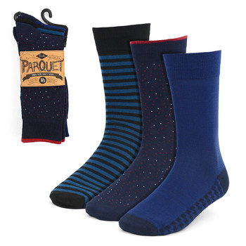 Assorted Pack (3 Pairs) Men's Blue Fancy Dress Socks 3PKS-DRSY8