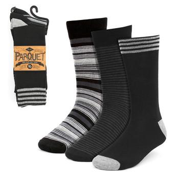 Assorted Pack (3 Pairs) Men's Black & Gray Striped Fancy Dress Socks 3PKS-DRSY9