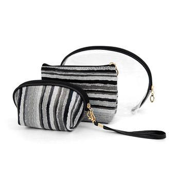 Gray and Black Striped Travel Make Up Pouch 3pc Cosmetic Bags with attached Mirror LNCB1601
