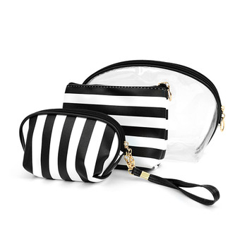 Black & White 3pc Travel Make Up Pouch Wide Striped Cosmetic Bags with attached Mirror LNCB1603