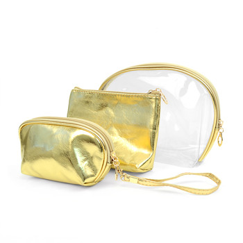 Gold 3pc Travel Make Up Pouch Cosmetic Bags with attached Mirror LNCB1604